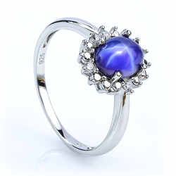 Star Sapphire Sterling Silver Ring 925