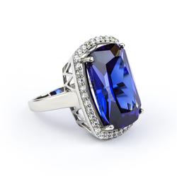 .925 Silver Big Tanzanite Ring