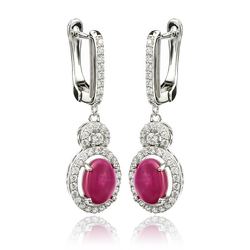 Ruby Star Drop Earrings With Sterling Silver
