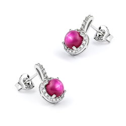 Star Ruby Silver Earrings 15mm x 10mm