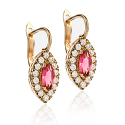 Fine Silver Earrings With Rose Gold Plated Ruby