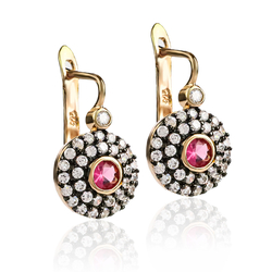 Silver Earrings with Ruby Gemstone