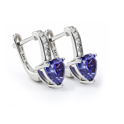 Heart Silver Leverbacks Earrings With Tanzanite