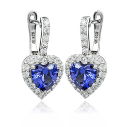 Big Heart Silver Leverbacks Earrings With Tanzanite