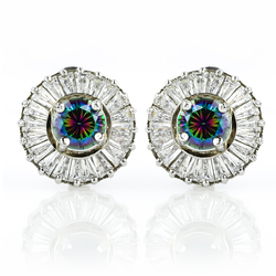 Very Elegant Round Cut Mystic Topaz .925 Sterling Silver Earrings