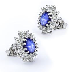 Star Sapphire Silver Earrings 16mm x 13mm