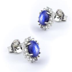 Beautiful Star Sapphire Silver Earrings