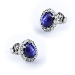 Star Sapphire Silver Earrings