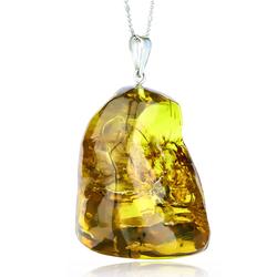 Huge Amber Genuine Sterling Silver Healing Necklace