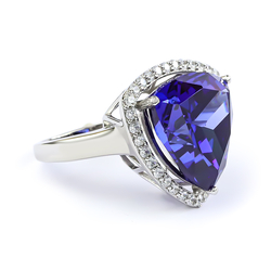 Big Sterling Silver Ring with Trillion Cut Tanzanite
