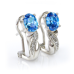 Blue Topaz Silver Earrings Oval Brilliant Cut