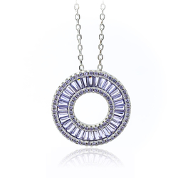 Tanzanite Circle Necklace with Silver Chain
