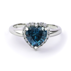 Sterling Silver Heart Ring with Alexandrite (Blue / Green)