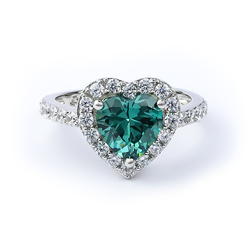 Silver Heart Ring with Alexandrite (Blue / Green)