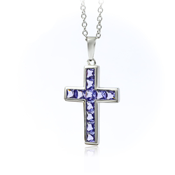 Tanzanite Cross Necklace with a Silver Chain