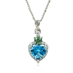 Silver Pendant .925 Blue to Green Color Change Alexandrite Heart