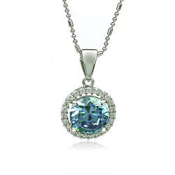 Silver Pendant With Alexandrite Color Change Blue to Green