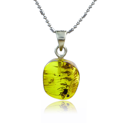 Genuine Amber Sterling Silver Ant Pendant 20 mm x 10 mm