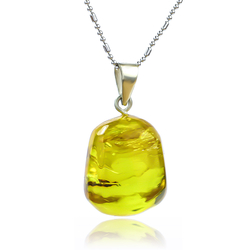Genuine Amber Sterling Silver Pendant 25 mm x 17 mm