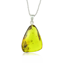 Rare Genuine Amber Mosquitoe Sterling Silver Pendant 35 mm x 20 mm