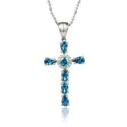 Beautiful Silver Cross With Precious Stones of Alexandrite and Zirconia