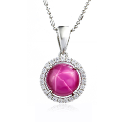 Star Red Ruby Silver Pendant