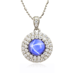 Blue Star Sapphire Necklace With Simulated Diamonds