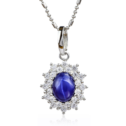 Blue Star Sapphire Silver Pendant Necklace