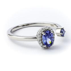 Beautiful Double Tanzanite Ring in 925 Sterling Silver
