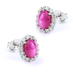 Star Ruby Stud Earrings 13 mm x 11 mm