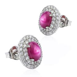 Star Ruby Stud Earrings 15 mm x 13 mm