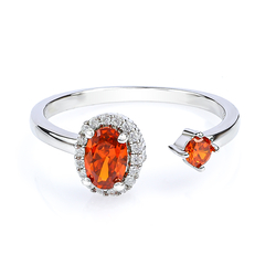 Beautiful Double Fire Opal Ring in 925 Sterling Silver