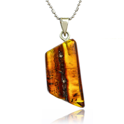 Natural Amber Sterling Silver Pendant 31 mm x 16 mm