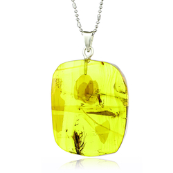 Natural Amber Mosquito Sterling Silver Pendant 35mm x 25mm