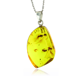 Natural Amber Two Ants Sterling Silver Pendant 30mm x 17mm
