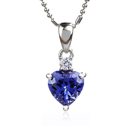 Beautiful Tanzanite Pendant 925 Silver Heart Shape