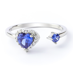 Beautiful Double Tanzanite Ring in 925 Sterling Silver Heart