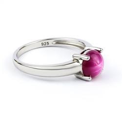 Solitaire Star Ruby Ring Sterling Silver 925