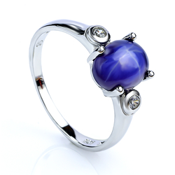 Blue Star Sapphire Sterling Silver Ring 925