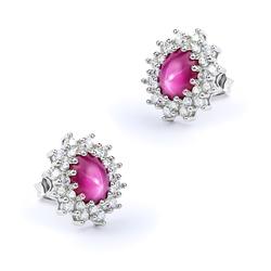 Star Ruby Silver Earrings 16mm x 13mm