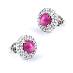 Star Ruby Stud Earrings 18 mm