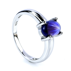 Blue Star Sapphire Solitaire Ring