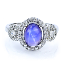 Blue Star Sapphire Ring With Silver Halo Design