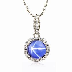 Blue Star Sapphire Halo Pendant