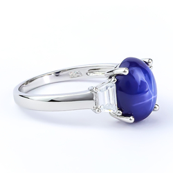 Star Sapphire Stone Silver Ring