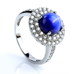 Blue Star Sapphire Ring With Silver Halo