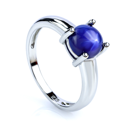 Round Cabuchon Blue Star Sapphire Solitaire Ring