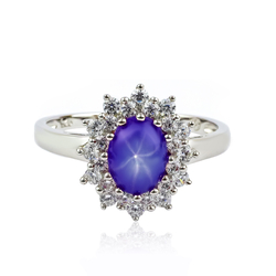 Star Sapphire Stone Silver Halo Ring
