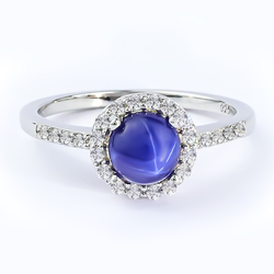 Blue Star Sapphire 925 Sterling Silver Ring