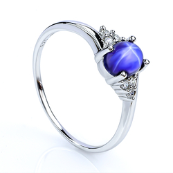 Solitaire Star Sapphire Sterling Silver Ring 925